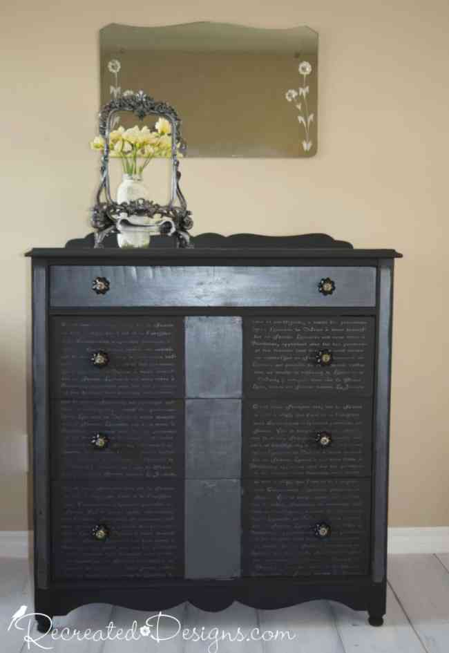 Vintage dresser painted with Country Chic paint in Liquorice and embellished with a French Script stencil