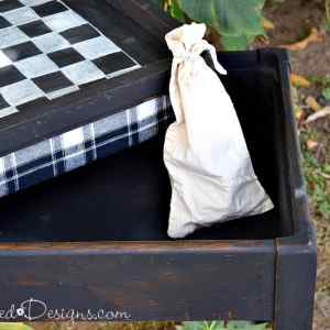 stroage table/bench with checkerboard