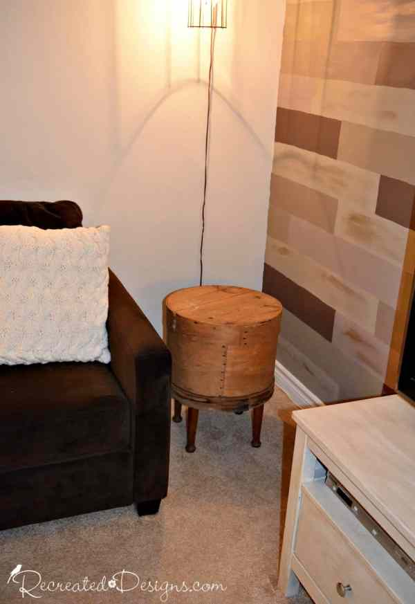 turning an old cheese barrel into a side table
