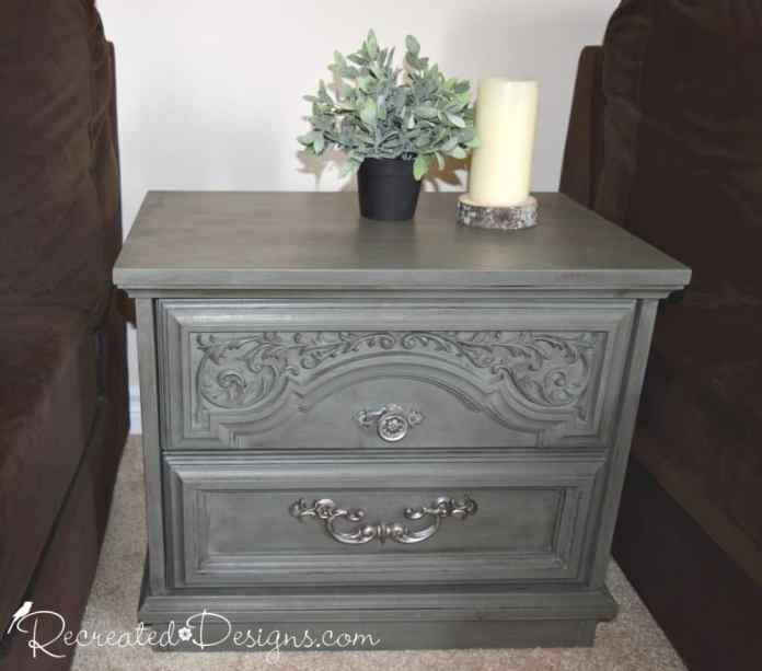vintage side table painted with Country Chic Paint in Nocturnal