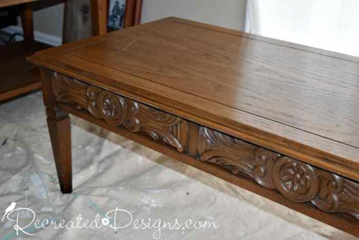 details on vintage coffee table