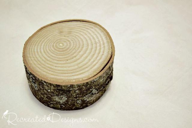 large wood slice used for Christmas tree base