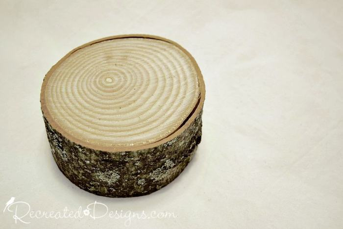 large wood slice used for Christmas tree base
