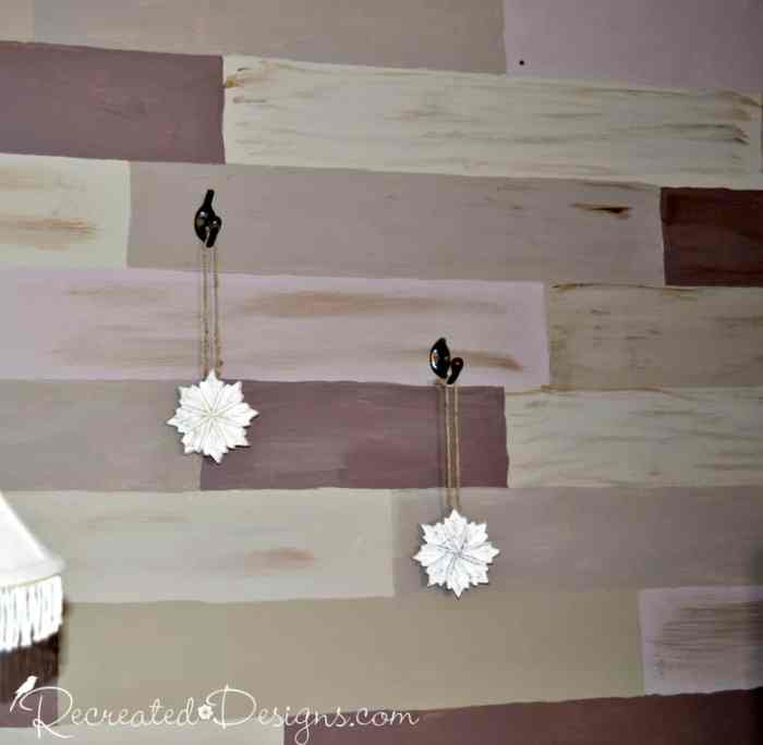 painted reclaimed wood wall
