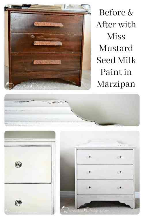 Before and After with Miss Mustard Seed Milk Paint in Marzipan
