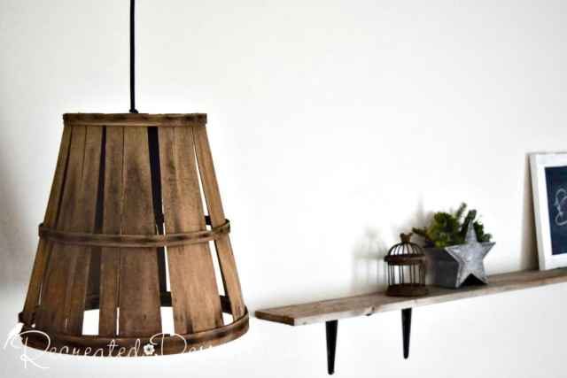 hanging lamp basket and wood shelf