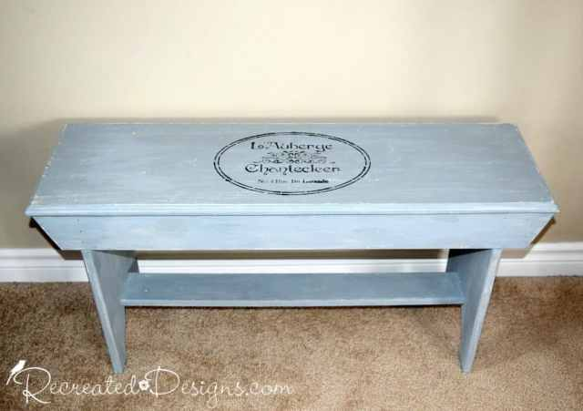 Solid wood bench painted with Miss Mustard Seed Milk paint in Shutter Grey