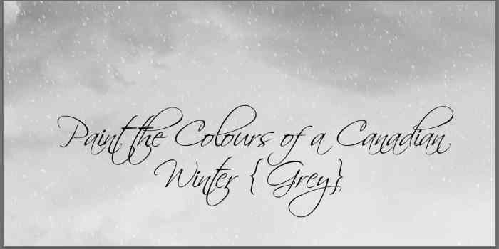 Paint the Colours of a Canadian Winter {Grey}