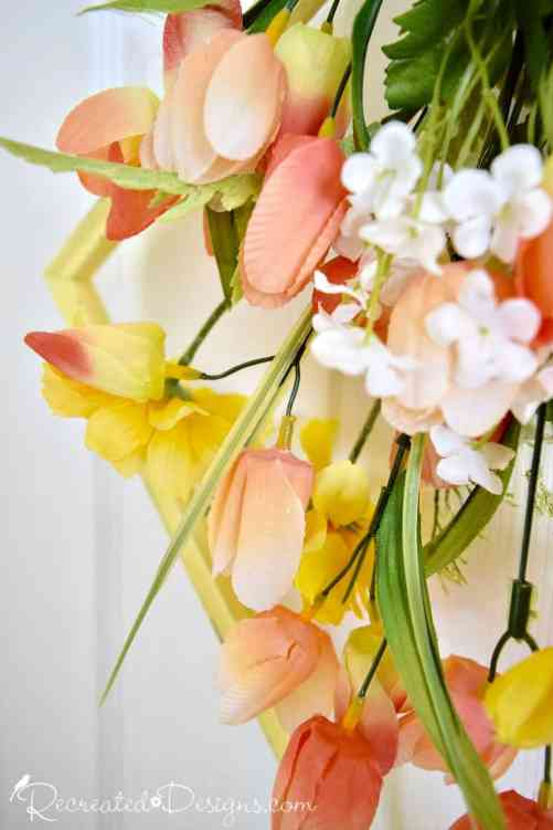 peach, yellow, pink and white Spring flowers