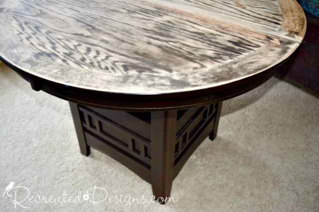 solid wood table with a sanded top