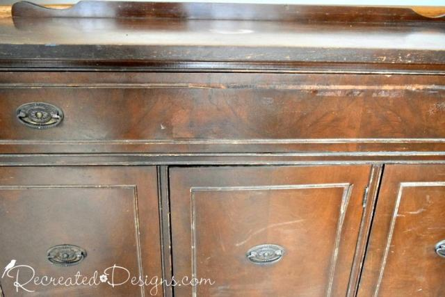 missing trim on a vintage buffet