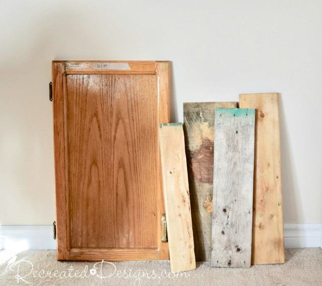 reclaimed kitchen cabinet door and wood pieces