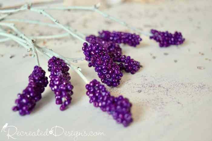 rustic, handmade purple lavender stems