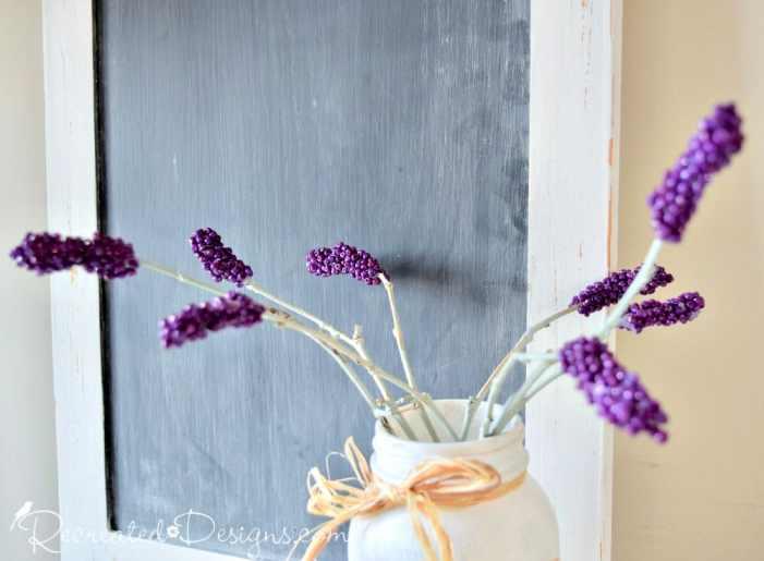 beautiful diy lavender stems in reclaimed jar