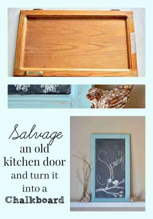 Turning a salvaged cabinet door into a chalkboard