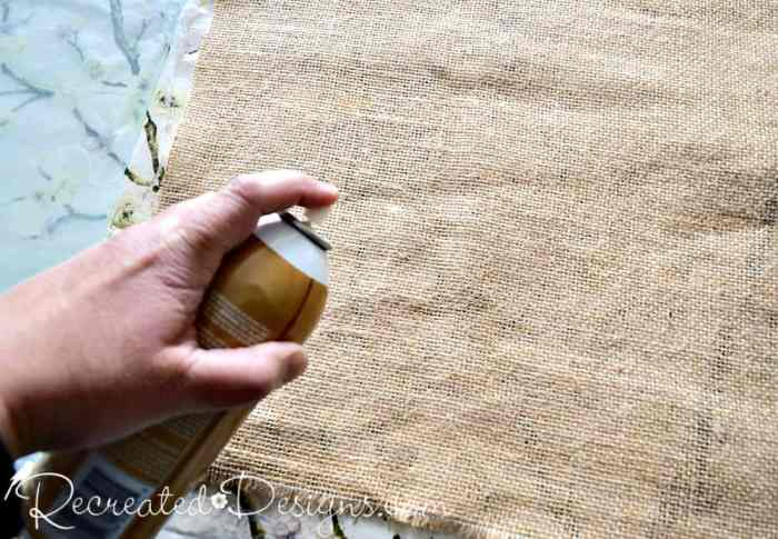 using spray adhesive to adhere burlap to glass