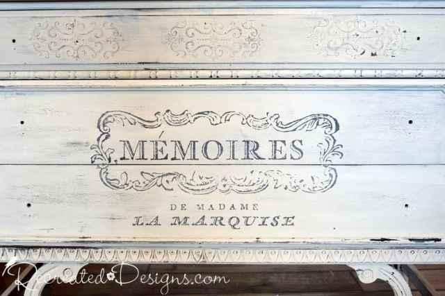 milk paint and IOD transfer on vintage dresser
