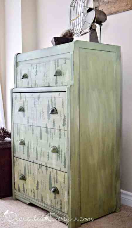 Dresser painted with Miss Mustard Seed Milk Paint in Luckett's Green, Layla's Mint and Boxwood