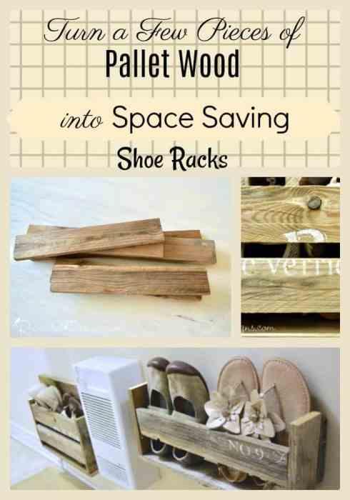 Turn old pallet wood into space saving shoe racks