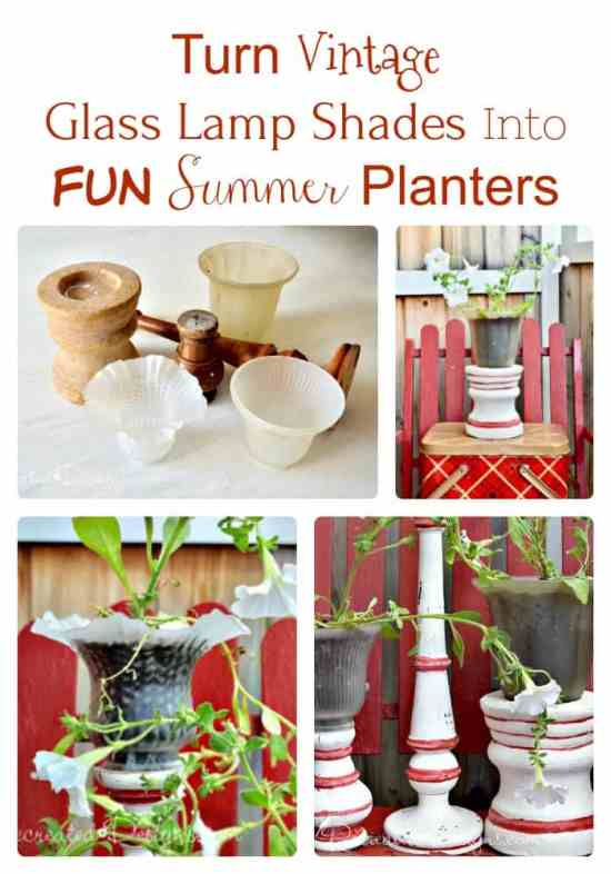 turn vintage glass lamp shades into fun summer planters