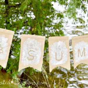 a reversible bunting for summer and fall using vintage wallpaper and burlap