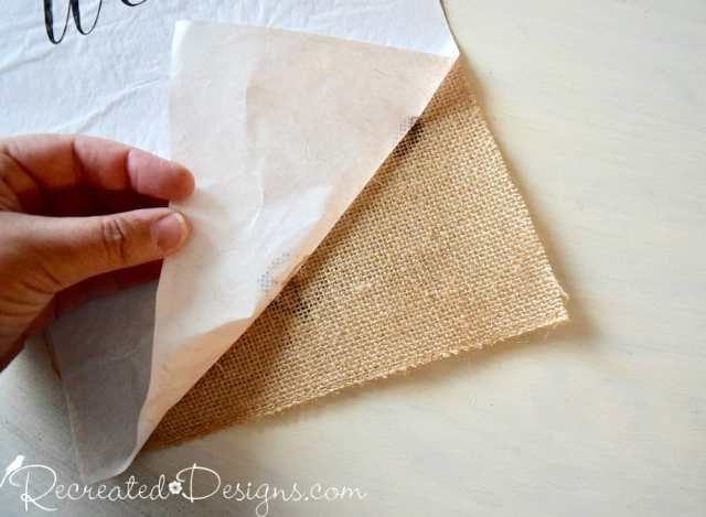 removing freezer paper after printing on the burlap