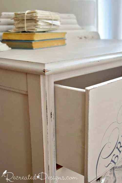 drawers painted inside and out with Miss Mustard Seed Milk Paint