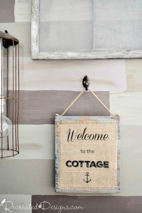 how to easily print on burlap cottage sign