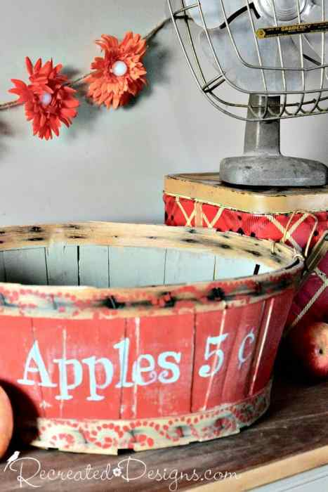 Vintage picking basket painted for Fall with perfect doily border