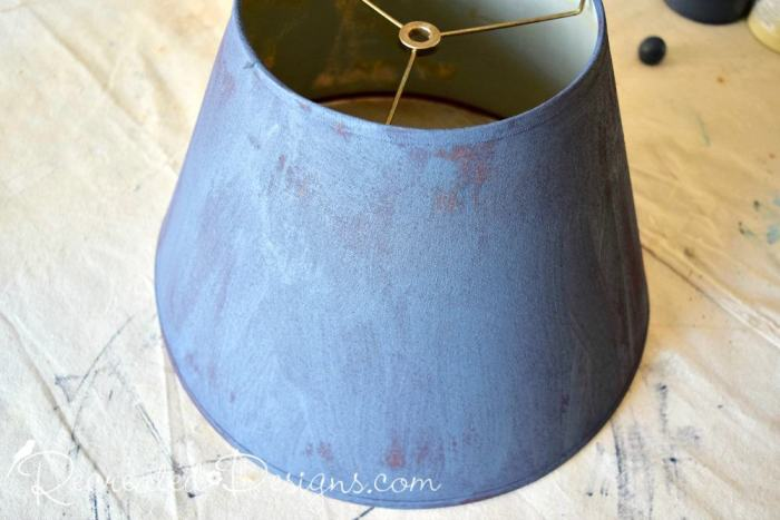 an old lamp shade painted with Fusion Mineral Paint in Midnight Sky