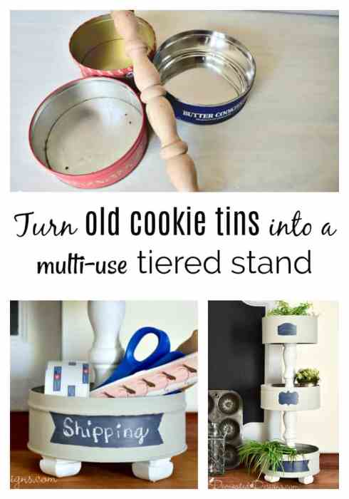 turn old cookie tins into a DIY tiered stand