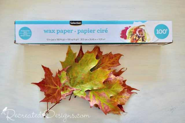 wax paper and leaves