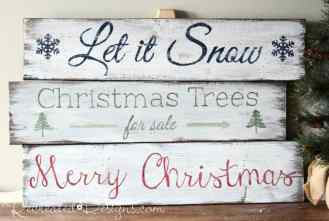 Christmas signs painted with Miss Mustard Seed Milk Paint