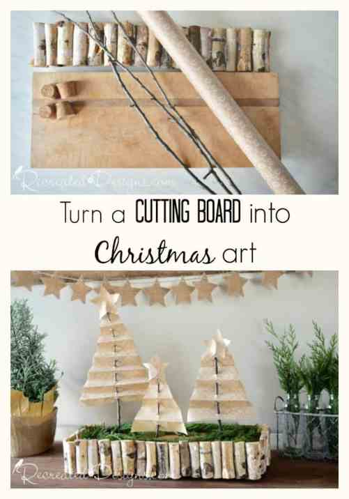 turn an old cutting board into Christmas art