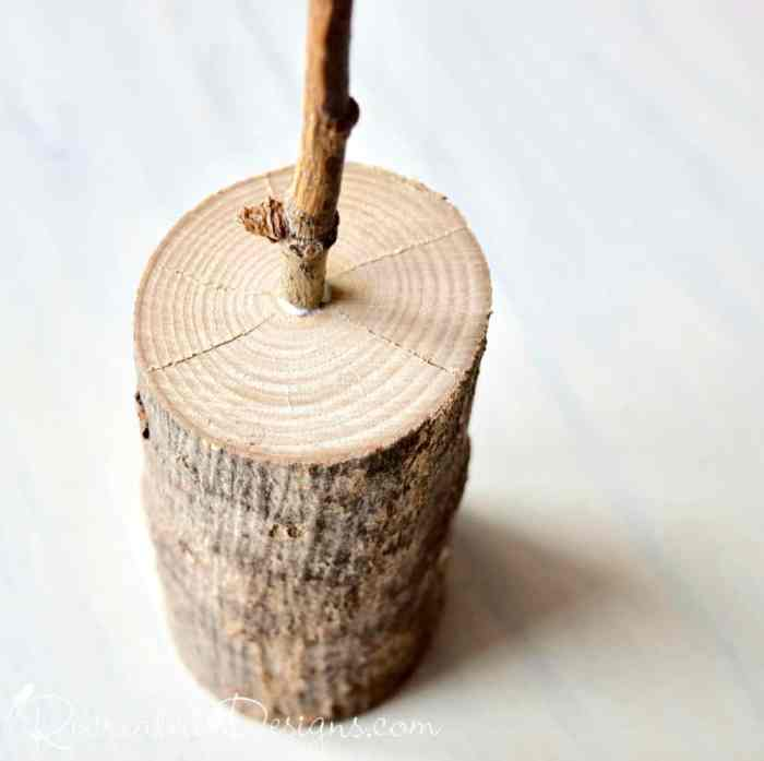 attaching a twig to a cut tree branch with wood glue