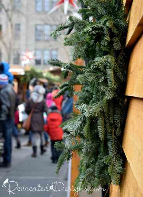 Greenery at the German Christmas Market in Quebec City Canada