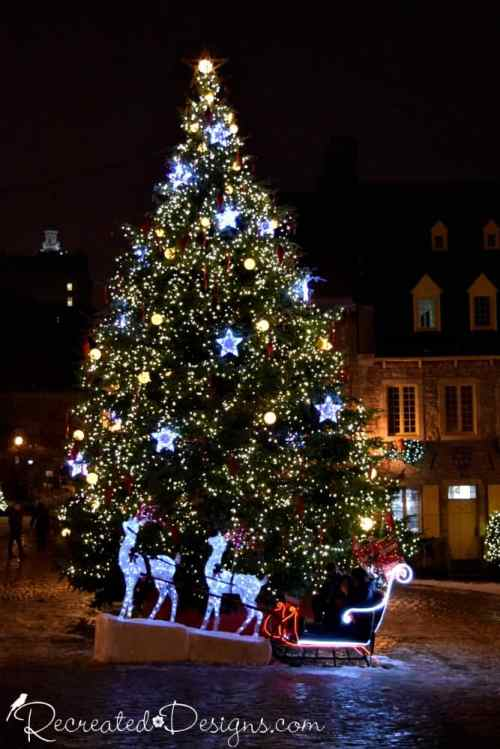 Christmas tree in square in Old Quebec City, Quebec, Canada