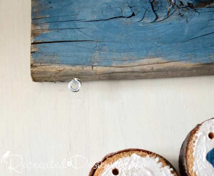 attaching eye hooks to reclaimed wood