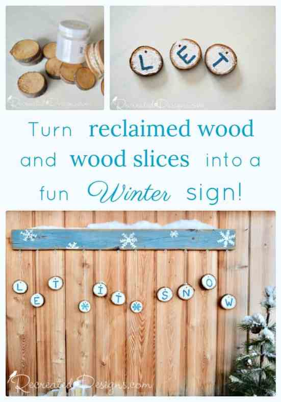 Reclaimed wood and wood slices turned into a rustic sign