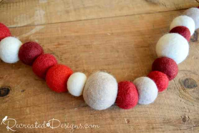 natural wool garland died reds