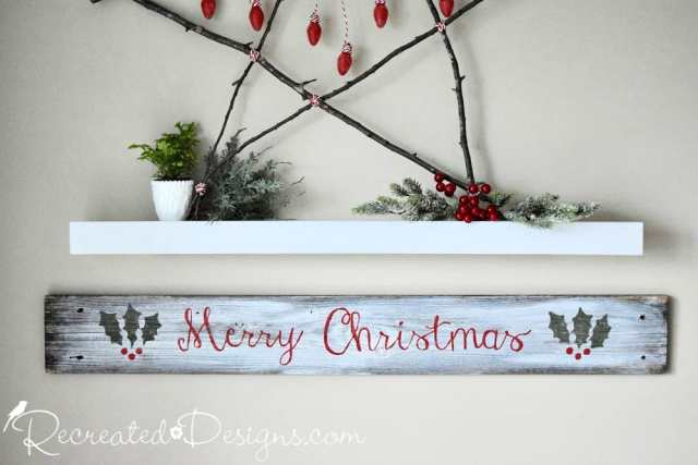 reclaimed wood sign painted with Merry Christmas