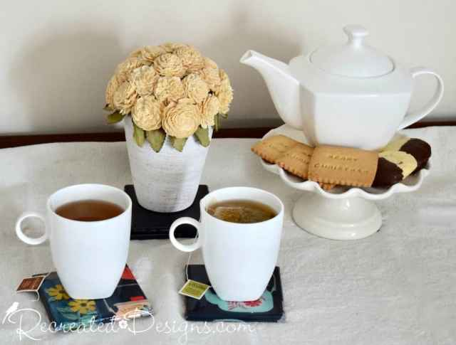 teatime with fabric and resin coasters