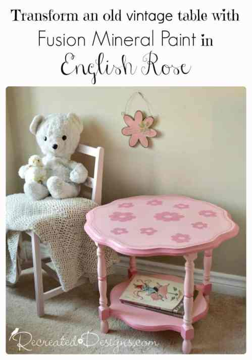 Transform an old vintage table with Fusion Mineral Paint in English Rose