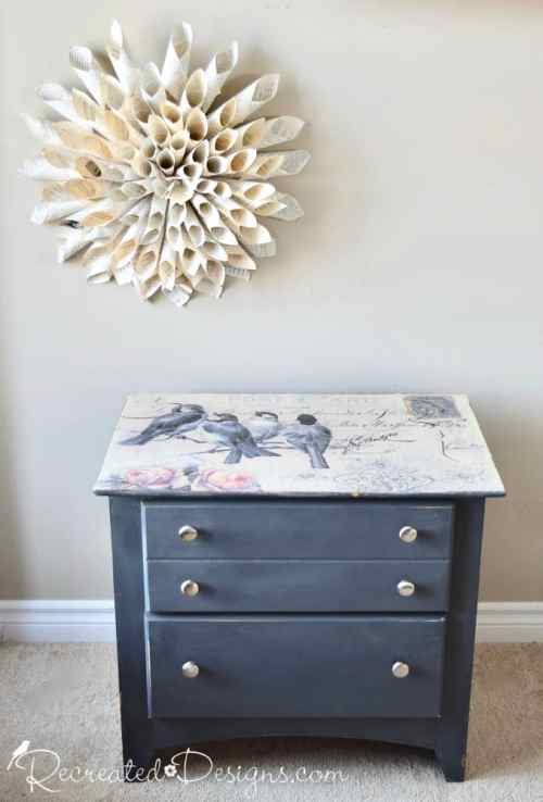modern drawers upcycled with vintage inspired paper and Mod Podge