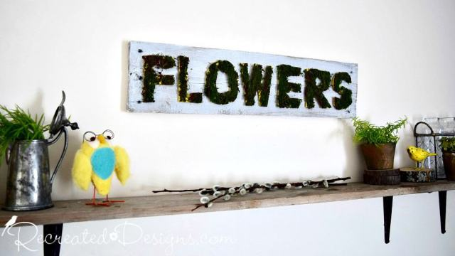 mossy flower sign hand painted Spring