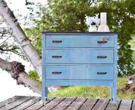 vintage dresser finished with Miss Mustard Seed's Milk paint and General Finishes gel stain