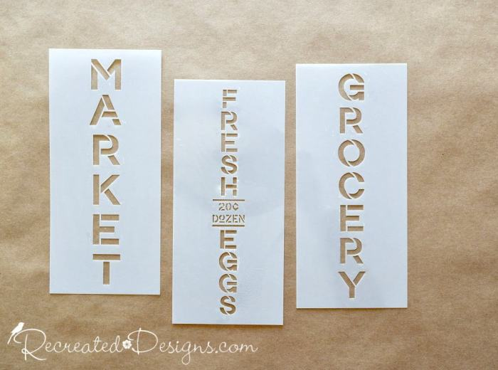Stencils from Stencil Revolution that say Market, Fresh Eggs and Grocery