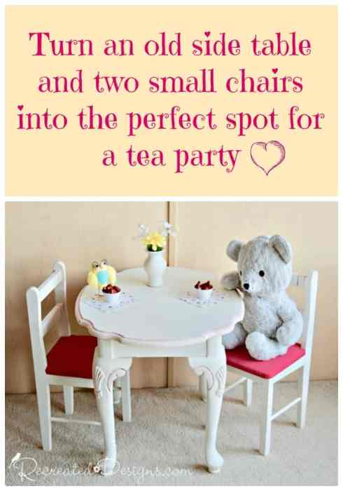 turning and old side table in the perfect spot for a tea party