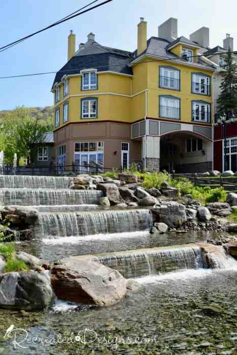 waterfall in the village at Mont Tremblant, Quebec