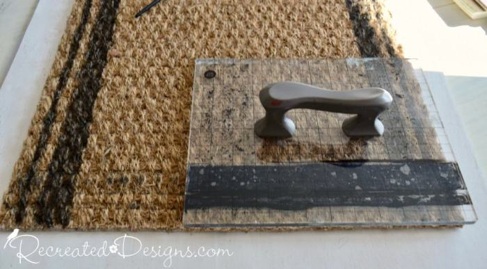 stamping a plain IKEA rug with ink